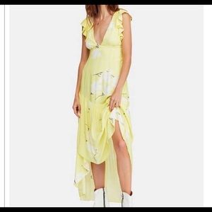 Yellow and White free people flower maxi dress